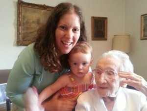 Gisela Dollinger with her great-great-great-grandnieces. (Courtesy Carole Vogel)