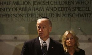 U.S. Vice President Joe Biden and his wife visit Yad Vashem Holocaust memorial in Jerusalem