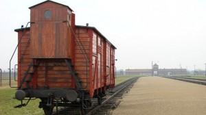 An original railway carriage stands at the Judenrampe platform at Auschwitz (photo credit: Adam Jones/Wikimedia Commons)