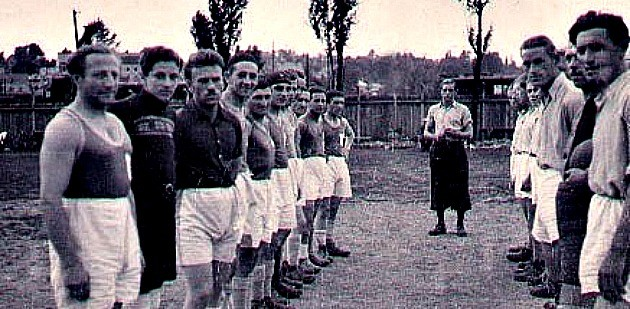Soccer and the Shoah: Jill Klein's father is second from left with his team members in a displaced person's camp in Austria, wearing a sweater as his goalkeeper's jersey.  Read more: http://forward.com/articles/200054/a-daughters-love-for-jewish-dad-and-soccer-spa/#ixzz34qUug9Ay