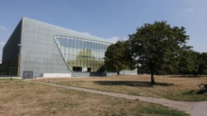 This photo from Aug. 12 2015, shows the POLIN Museum of the History of Polish Jews in Warsaw, Poland. A Polish-American Holocaust survivor, Sigmund Rolat, plans to build a memorial to the thousands of Polish gentiles who rescued Jews during the war in this park next to the museum, an area in the heart of the former Warsaw Ghetto. (AP/Czarek Sokolowski)