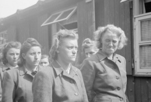 During the liberation of Bergen-Belsen concentration camp in April of 1945, guards with the SS were paraded for work in clearing the dead. (Wikimedia Commons)
