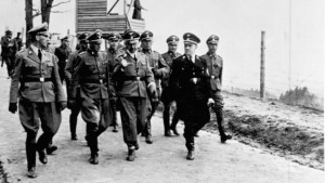 SS officials including Heinrich Himmler visit the Mauthausen concentration camp in 1941. (CC-BY-SA-3.0-de , German Federal Archives)