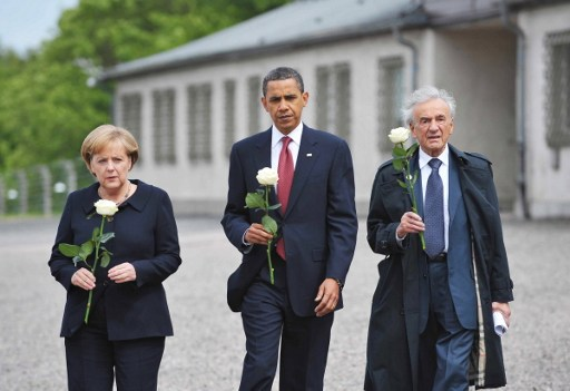 (FILES) This June 5, 2009, file photo shows US President Barack Obama (C), German Chancellor Angela Merkel and holocaust survior Elie Wiesel making their way to pay their respects at a memorial during a visit to the former Buchenwald concentration camp near Weimar in Germany.